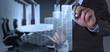 Leinwandbild Motiv businessman hand draws business success chart
