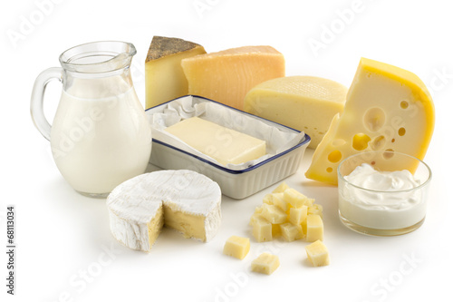Deurstickers Zuivelproducten assortment of milk products