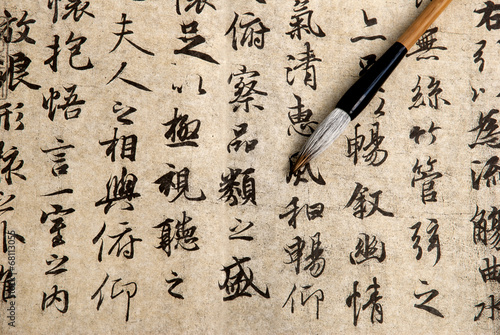 Deurstickers China Traditional chinese calligraphy on beige paper