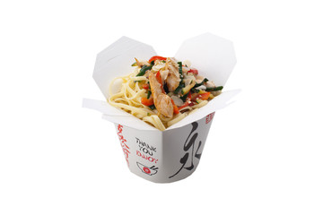 Japanese kuhnya.Lapsha udon with chicken, vegetables, almonds an