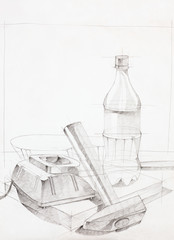 hand drawn sketch of three objects
