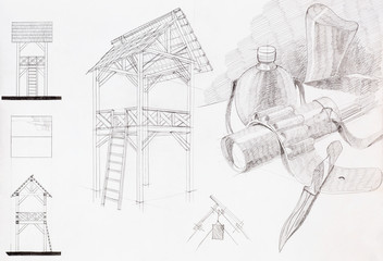 pencil sketch of pavilion and composition with objects