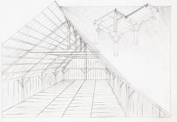 wooden attic, architectural sketch