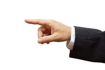 Business man hand pointing or selecting. Ready for sample text