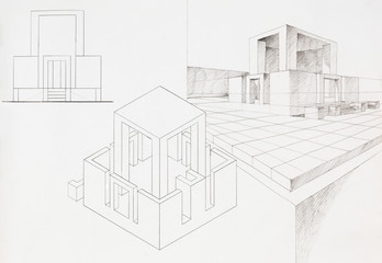 architectural sketch of modern box house