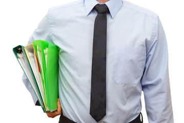 businessman in blue shirt with folders going to  the meeting