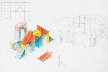 colorful architectural sketch