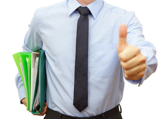 businessman holding binder  with documents and giving thumb up i