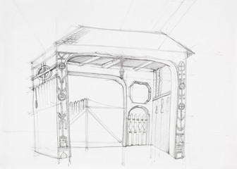 architectural drawing of rustic gate