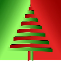Red and green christmas tree from narrow bended papers