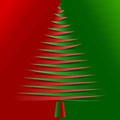 Red and green christmas tree from pointy bended papers