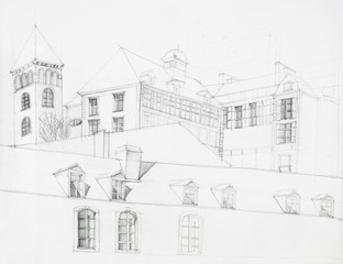 architectural perspective of old mansion