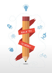 Back to school message banner around pencil