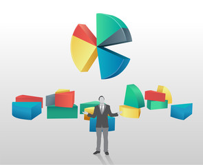 Pie chart with segments broken off and businessman standing