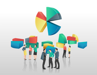 Business people and colourful pie chart