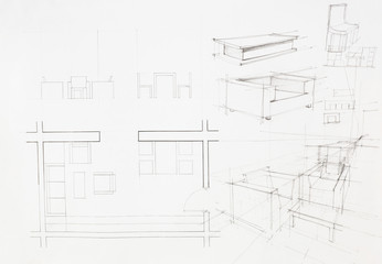 architectural blueprint of dinning area