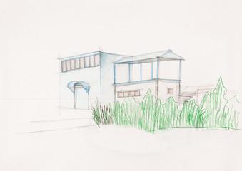 sketch of modern suburban house