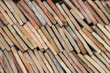 heap of old terracotta tile roof 3