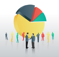 Businessmen shaking hands against pie chart