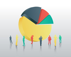 Business people against giant pie chart