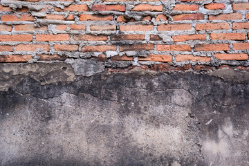 concrete wall and red brick old age