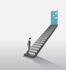 Businessman climbing stairs to open door showing sky