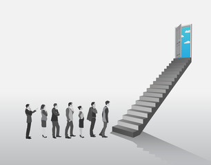 Business people in queue to climb stairs