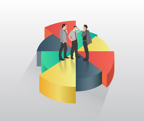 Businessmen standing on pie chart