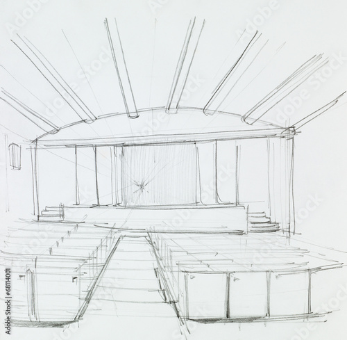 interior of a cinema, perspective view - 68114001