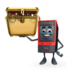 Computer Cabinet Character with treasure box
