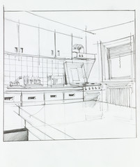 interior of apartment kitchen