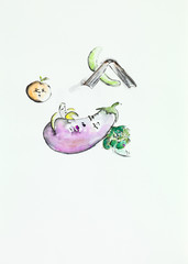watercolor vegetables and fruits characters