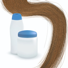 vector long hair on white background.