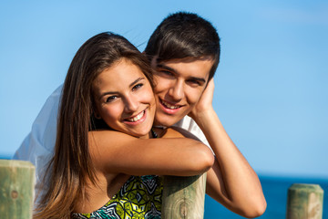 Couple portrait at beach.