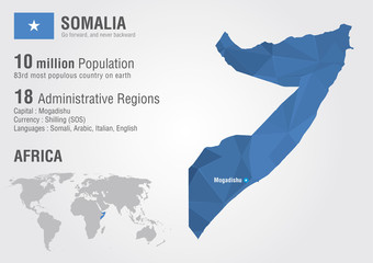 Somalia world map with a pixel diamond texture.