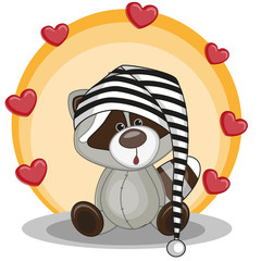 Raccoon with hearts