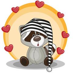Raccoon with hearts
