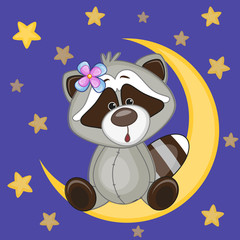 Cute Raccoon on the moon