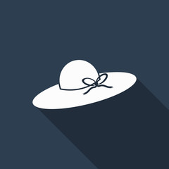 female hat icon with long shadow