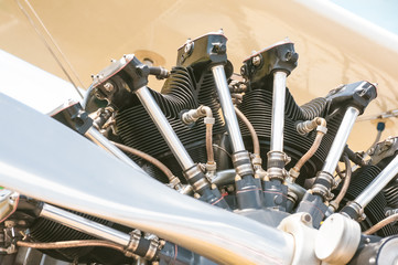 closeup of a vintage aircraft propeller engine