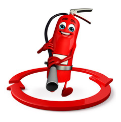 Fire Extinguisher character with arrow