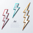 Vector lightning bolt banners set. 3 variants. - 68115406