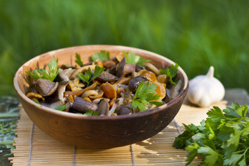 Pickled mushrooms with garlic and parsley