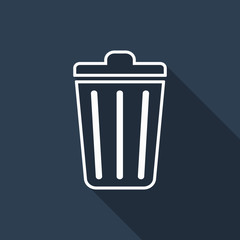 trash icon with long shadow