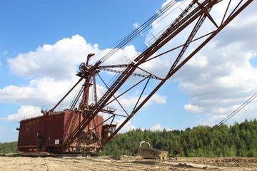 Excavator on the quarry