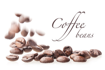 Flying coffee beans, isolated on white background