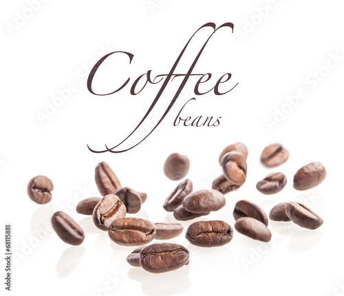 Flying coffee beans isolated on white background - 68115881