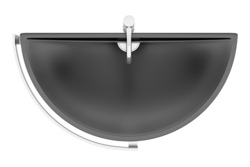 top view of black ceramic bathroom sink isolated on white backgr