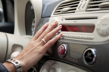 Inside a car: changing the radio
