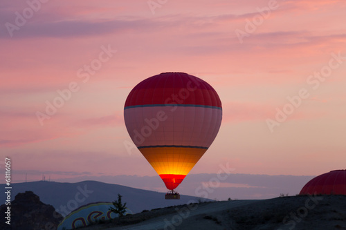 Fotobehang Ballon Hot Air Baloon over Cappadocia at sunrise. Turkey